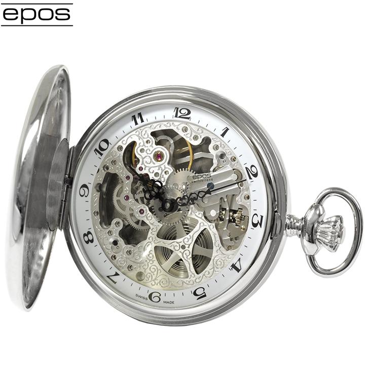 エポス 懐中時計 2078P スケルトン ポケット 手巻き タイムピース