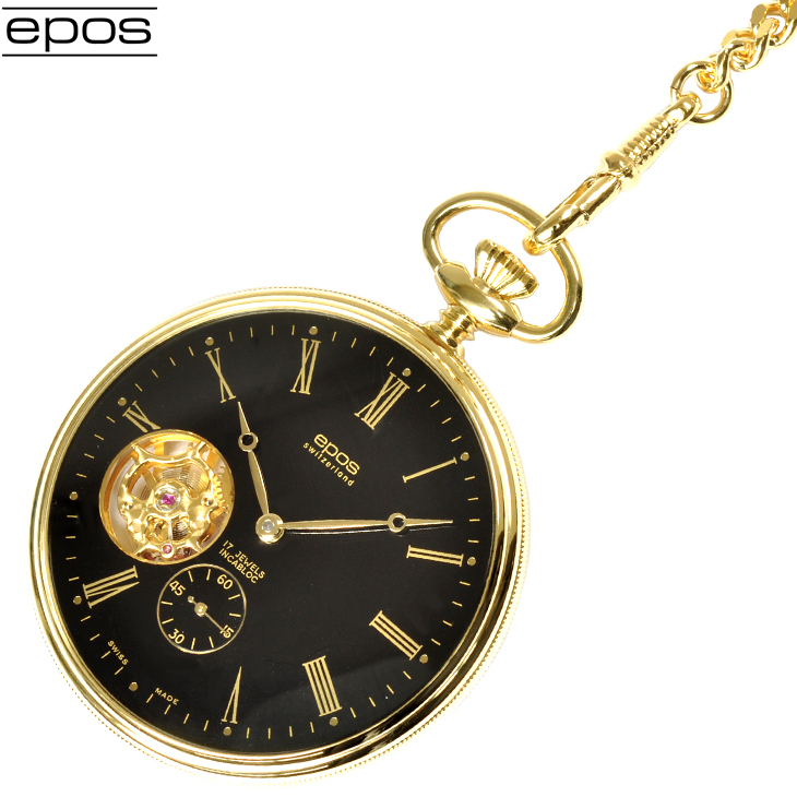 エポス 懐中時計 2090GPBK 裏スケルトン ポケット 手巻き タイムピース ゴールド