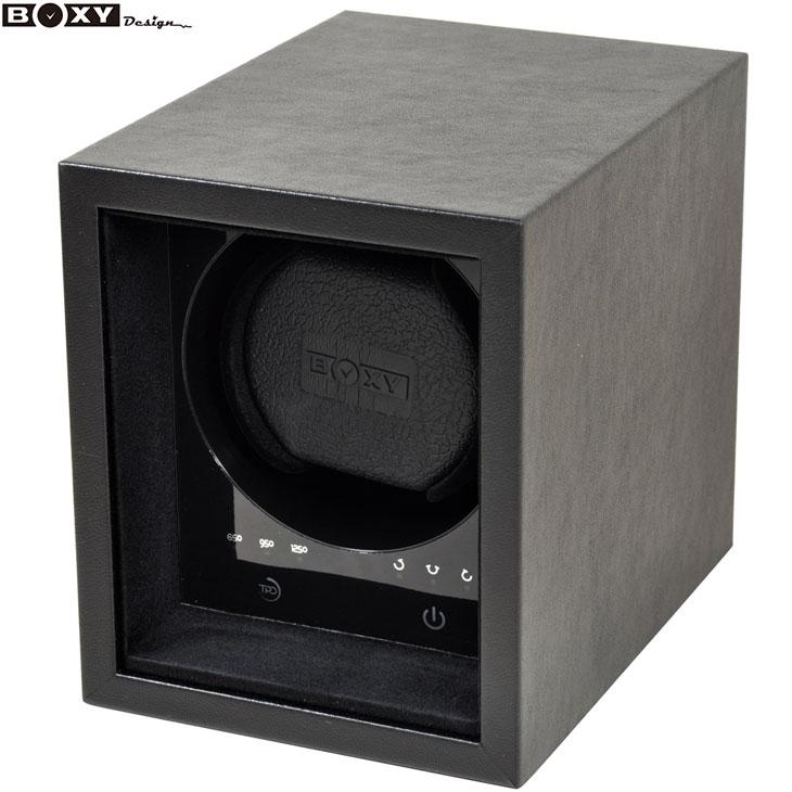 大き目フェイスにも使えるワインディングマシーン 至高 新商品 BOXY Design ボクシー デザイン 新品 あす楽 SE01-BK SAFE ウォッチワインダー 送料無料限定セール中 時計 腕時計 アダプター付き ECO メンズ 調整 1本巻き タッチパネル