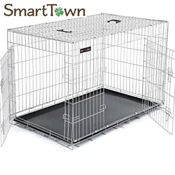 5 980円以上のお買い上げで送料無料 ペットケージ 75×47×54cm 室内外兼用 折り畳み式 犬 猫 贈与 アウトレットセール 特集 持ち手付き トレイ付き