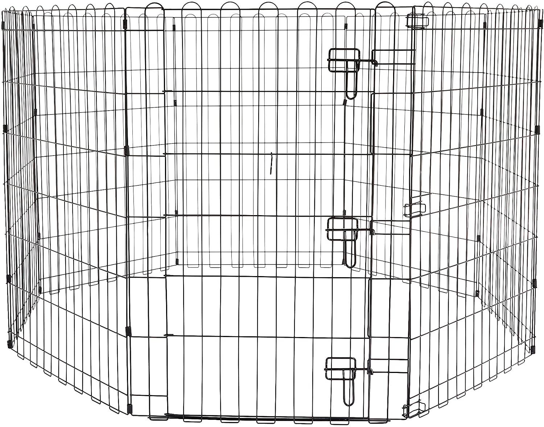 大型商品のため同梱できません ※大型品 Amazonベーシック ペット 犬用 エクササイズフェンス プレイサークル 91cm 152 x 国内正規品 金属製 安心の定価販売 ゲート付き 折りたたみ可能
