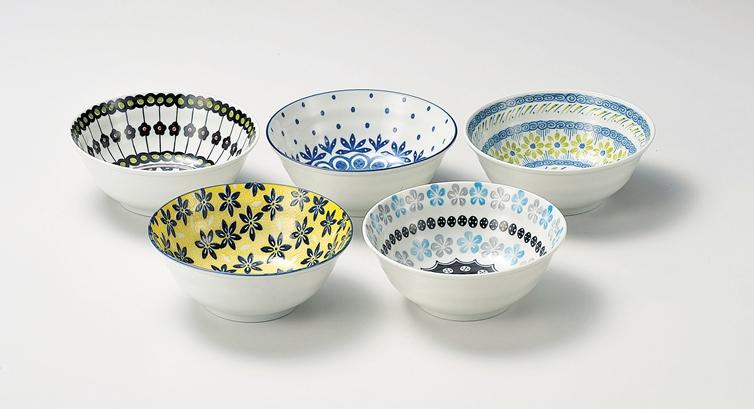 陶器字段字段五碗 5 句柄设置陶场的碗套装 5 件设置波兰语