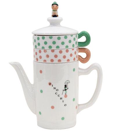 Pinocchio pretty tea four two teapot & cup set Shinji Kato pinocchio Tea For Two Tea pot and cup set