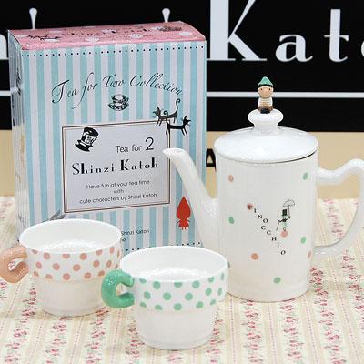 pinokio喜愛的球座四二茶壺&kappusettoshinjikatou pinocchio Tea For Two Tea pot and cup set
