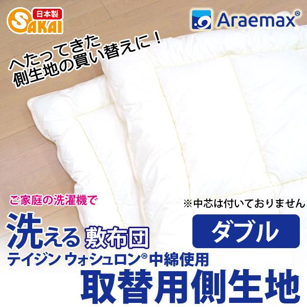 【上下側生地のみ】 ウォシュロン中綿使用完全分割 着脱式 洗える敷布団用 上層・下層 中綿部分のみダブルサイズ(140×205cm)【洗える寝具 洗える布団 敷き布団 洗えるふとん】532P26Feb16