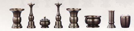 天祥型 真鍮  八具足 花立ての高さ10.5cm  ※全宗派共通 花立・火立・玉香炉・火立・花立・前香炉・線香差し・マッチ消し