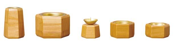 木製 ルキア 5点セット (花立の高さ約8cm)※全宗派共通