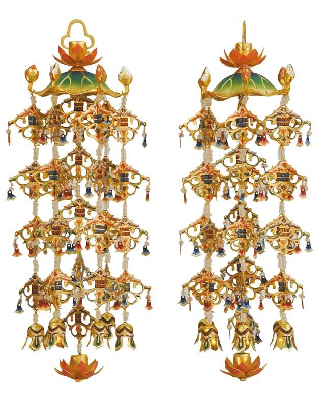 真鍮製 連傘 瓔珞 白玉 (一対) 特大サイズ 【スマイル仏壇】受注生産 5日ほどでお届けさせていただきます。