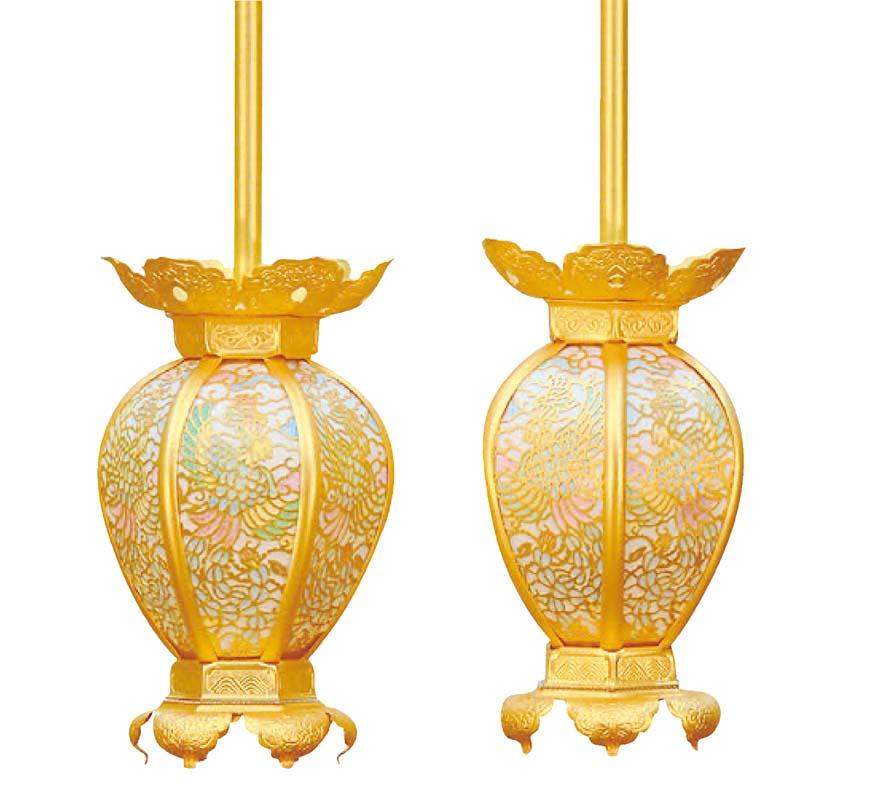 吊灯籠(真鍮製 一対) 彩色鳳凰透  (全宗派共通)大サイズ 受注生産 ご注文いただいてから納品まで6日ほどかかります。