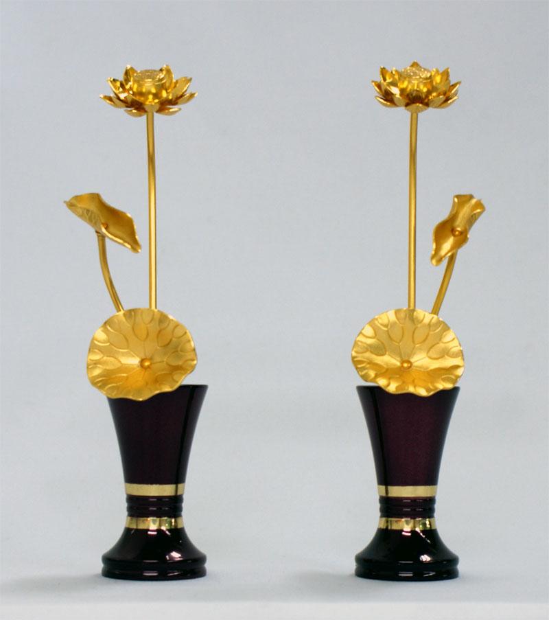 合金製 モダンミニ常花 総高さ15cm (一対)