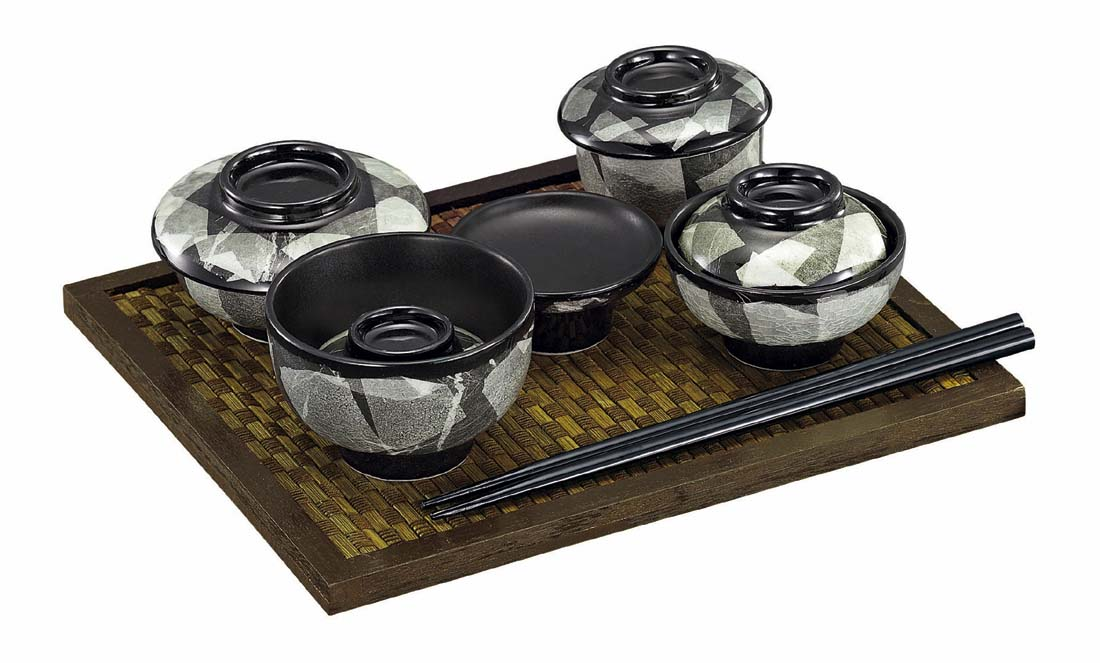 【国産】九谷焼 愛音(あのん) 仏膳 一式 伯銀 白磁(はくじ)茶