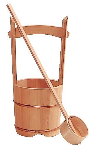 木製手桶セット 小 (高さ39cm×径18cm)
