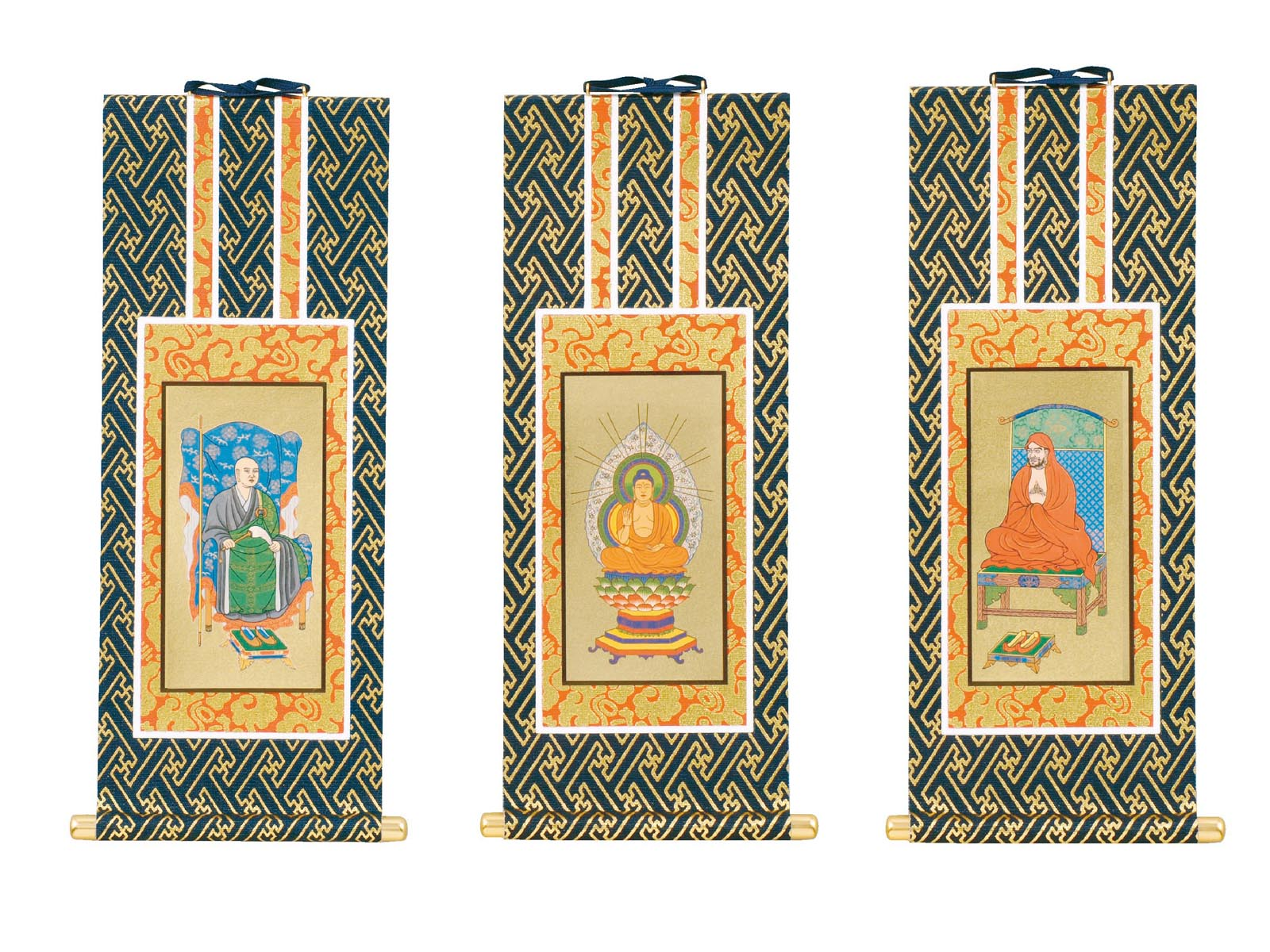 【仏壇用】 禅宗系の掛軸 70代( 本尊と両脇 )3本1組掛軸用押しピンサービス中