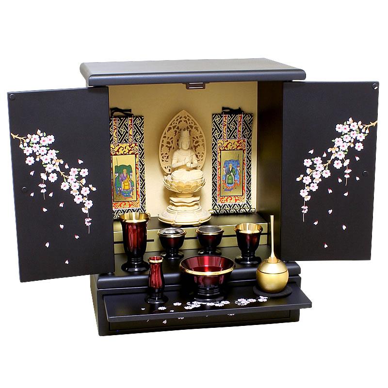 ミニ仏壇 さくら【激安】小型仏壇の中でも随一のデザイン性と価格の安さで、蒔絵漆調仏壇シリーズでも選ばれ続けた調人気仏壇。