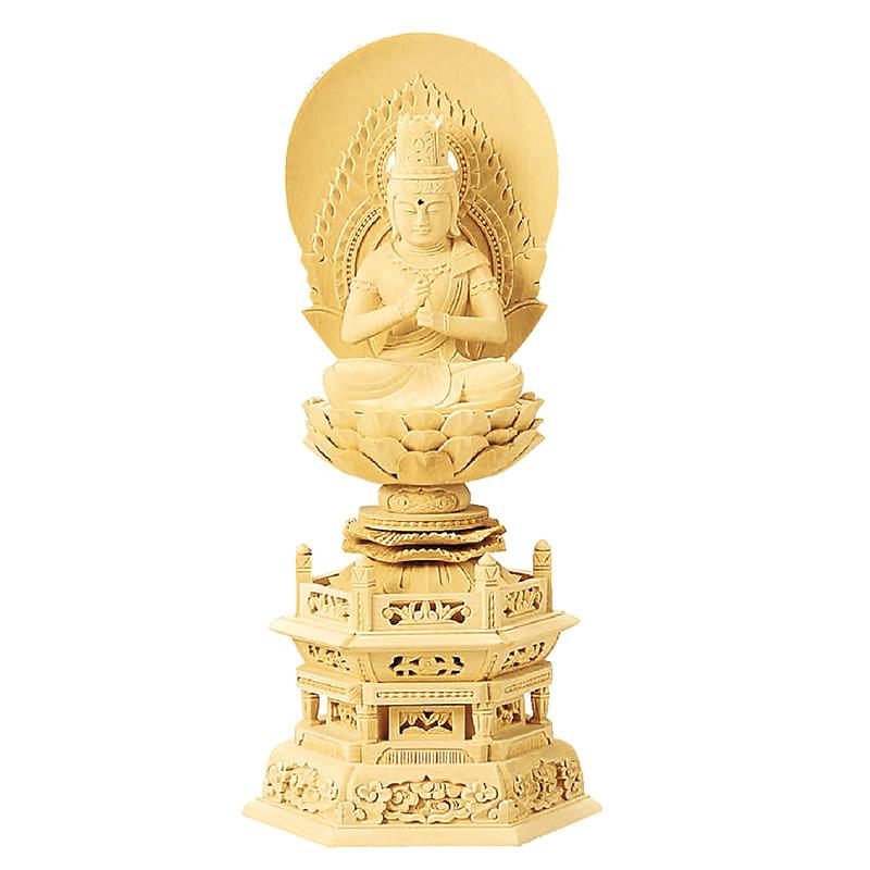 緻密な木目と滑らかな木肌が特徴の総白木で作られた六角台座の仏像です 仏具 2020 御本尊 仏像 大日如来 六角台座 全品送料無料 高さ:21.6cm~37.5cm 総白木 真言宗 1.8寸~3.5寸