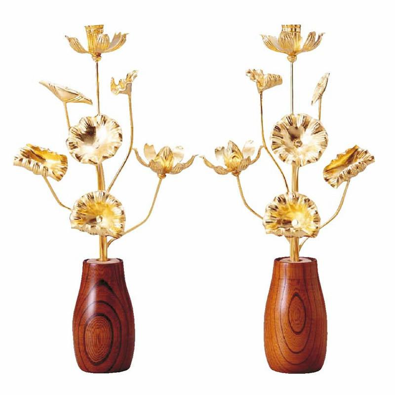 【仏具】常花 木製純金箔 7本立(1対)金色常花で華やかに彩ります。サイズも小~大と仏壇に合わせて選べます。専用のケヤキの花立セットがオススメ!