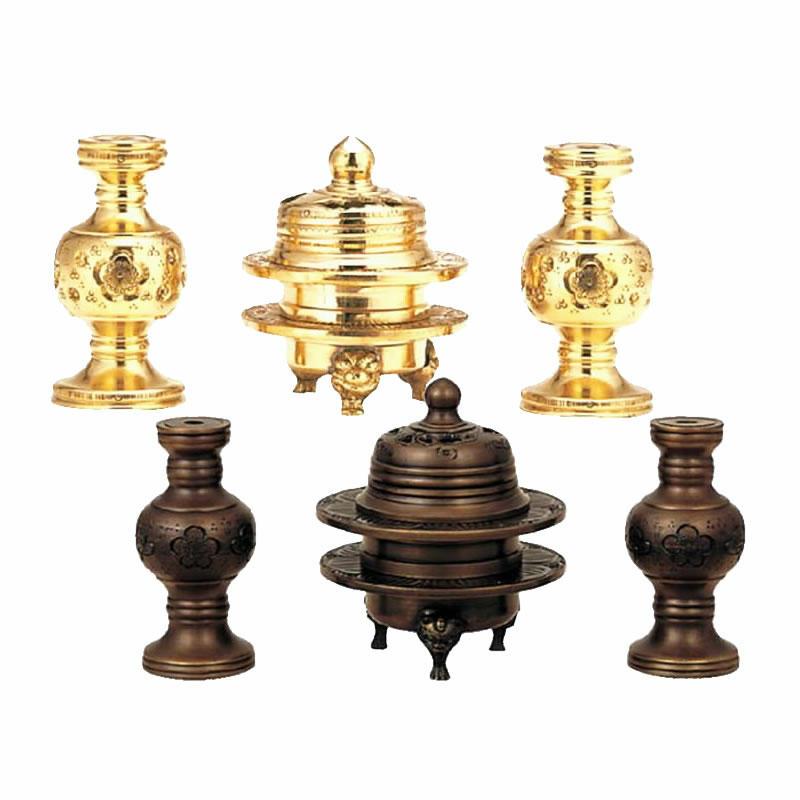 【仏具セット】伝統型 火舎華鋲セット 彫入タイプ(サイズ・1.8寸~2.5寸)磨色・黒光色・金メッキから選べます