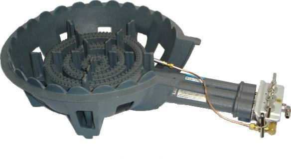 鋳物コンロ 三重・種火付 ガスバーナー(普及タイプ) 底枠付 SB301P (旧品番 C-36-1P)(タチバナ TS-330P 類似品)