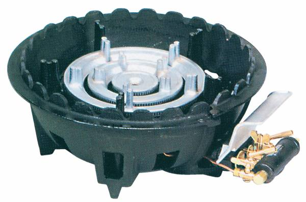 タチバナ製作所 鋳物コンロ(ハイカロリータイプ) 三重 種火付 卓上用 底枠付 TS-318P (業務用ガスバーナー)