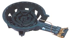 鋳物コンロ 三重・種火付 ガスバーナー(普及タイプ) 底枠付 SB301P ホースエンド固定式 (旧品番 C-36-1P)(タチバナ TS-330P 同等品)