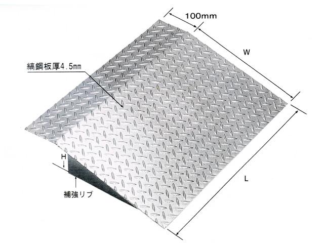 鋼板製・融解亜鉛メッキ仕上げ 乗用車用 縞鋼板製歩道上がり 適用段差150mm HSL-1000-15 【代引き不可】