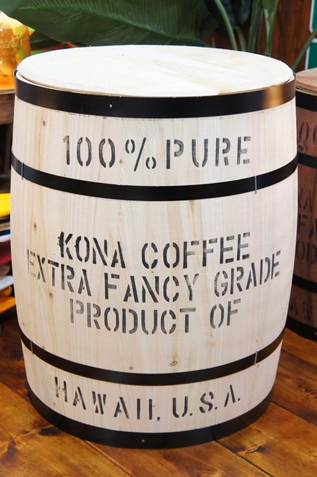 コナコーヒー木樽(白) Lサイズ ※フタ別売☆おしゃれ 樽 ハワイアン雑貨 ハワイ雑貨 アメリカン雑貨 アメリカ雑貨 インテリア 収納 木箱 コーヒー バレル 木樽