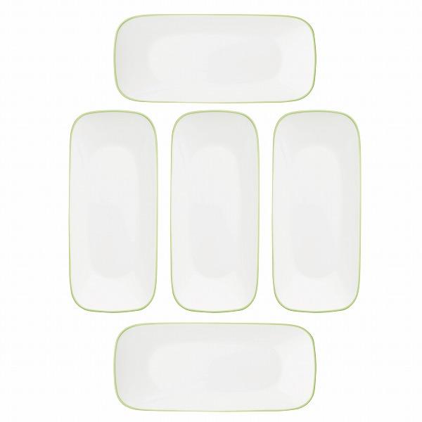 コレールタフホワイト(リーフ)スクエア長皿5枚セットCP-9452