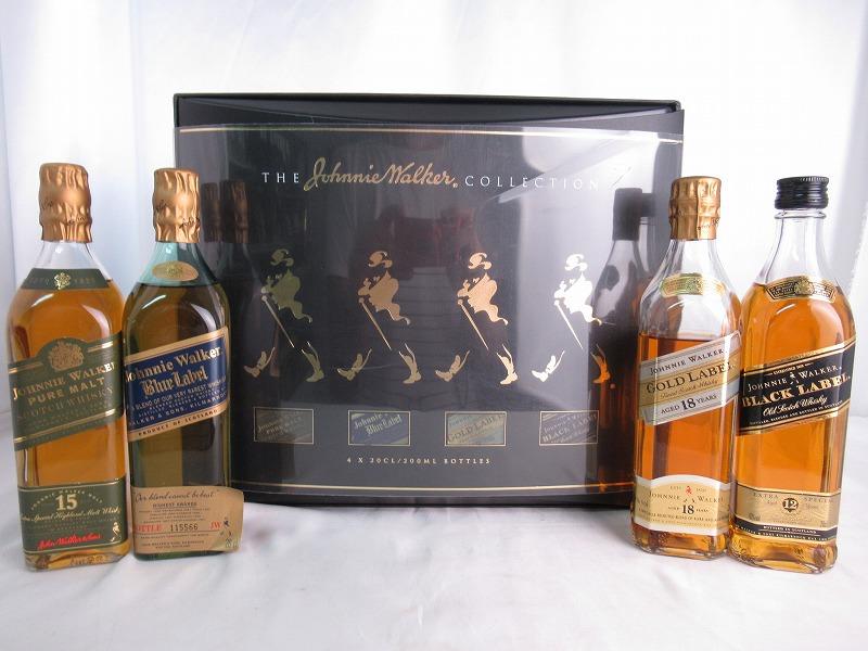 The Johnnie Walker Collection ザ ジョニー ウォーカー コレクション Pure Malt 15 years/Blue Label/Gold Label 18 years/Black Label 12 years ピュアモルト 15年/ブルーラベル/ゴールドラベル 18年/ブラックラベル 12年 200ml×4 43% 箱付 【中古】(未開封品)