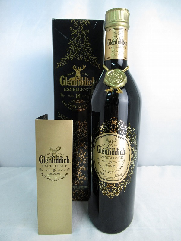 Glenfiddich EXCELLENCE PURE MALT AGED 18 YEARS RARE OLD SCOTCH WHISKY グレンフィディック エクセレンス ピュア モルト 18年 レア オールド スコッチ ウィスキー 重量1294g 700ml 43度 冊子/箱付 【中古】(未開封品)