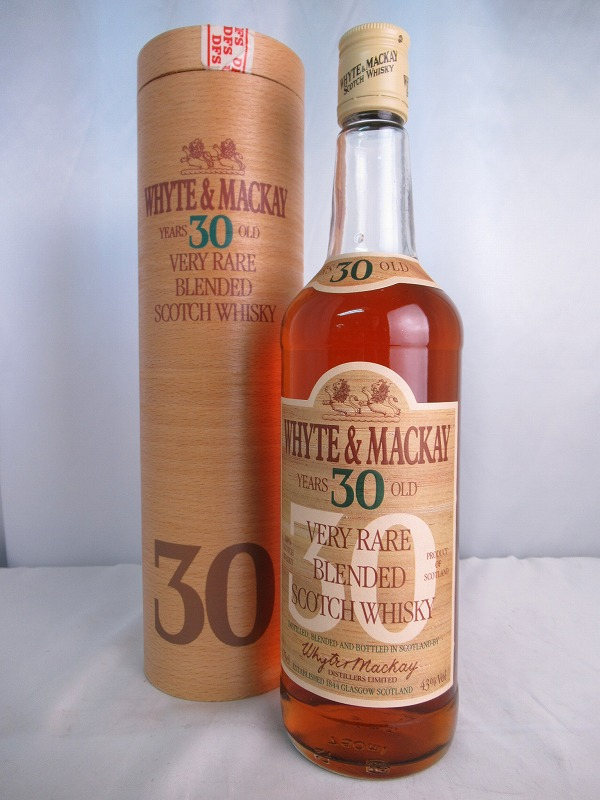 WHYTE&MACKAY YEARS 30 OLD VERY RARE BLENDED SCOTCH WHISKY ホワイト マッカイ 30年 ベリー レア ブレンド スコッチ ウィスキー 旧 オールドボトル 750ml 43度 木筒付 【中古】(未開封品)