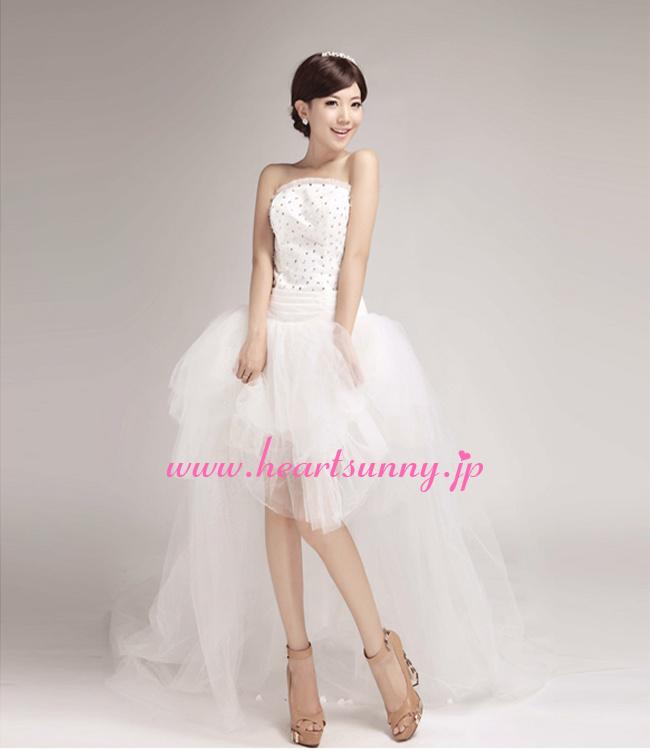 ウェディングドレスミニ丈☆E291☆スパンコール飾りビスチェふわふわソフトチュールトレーンハイロードレス