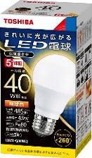(60個セット・送料無料)LED電球・電球形 E26口金 一般電球形 全方向タイプ 白熱電球40W形相当 電球色 TOSHIBA(東芝ライテック) LDA5L-G/40W-2 (LDA5LG40W2) LDA5L-G/40Wの後継機種