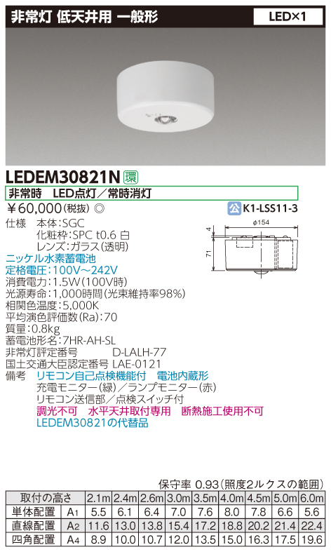 【10台セット・送料無料】東芝ライテック 低天井用 直付 LED非常灯専用形 LEDEM30821N (リモコン別売り・LEDEM30821後継機)