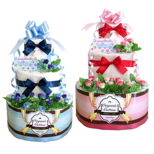 おむつケーキ 3段!!(大) オーガニックおむつケーキ 男の子 女の子 オムツケーキ