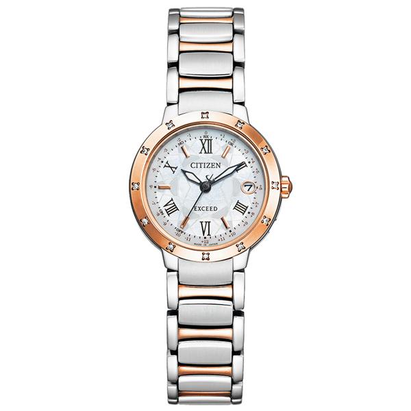 取寄品 正規品CITIZEN EXCEED腕時計 シチズン エクシード ES9334-58W エコドライブ電波時計 ハッピーフライト ティタニアライン スーパーチタニウム 12ポイントダイヤ入 レディースウォッチ 送料無料