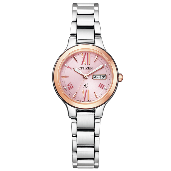 取寄品 正規品CITIZEN xC腕時計 シチズン クロスシー EW3224-53W エコドライブ電波時計 ステンレス ピンクゴールド シルバー レディースウォッチ 送料無料