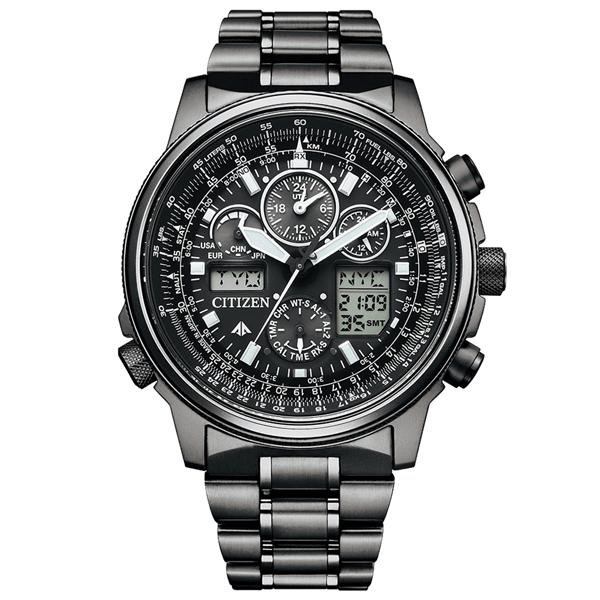 取寄品 正規品CITIZEN PROMASTER腕時計 シチズン プロマスター JY8025-59E SKY エコドライブ アナデジ ワールドタイム電波時計 スーパーチタニウム 20気圧防水 クロノグラフ 航空計算尺 メンズウォッチ 送料無料