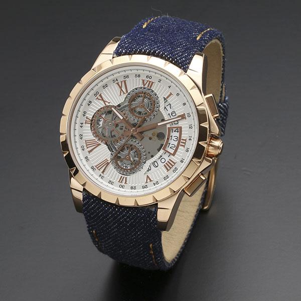 取寄品 正規品 Salvatore Marra 腕時計 サルバトーレマーラ SM13119D-PGWH/BL クロノグラフ 革ベルト 防水 メンズ腕時計 送料無料