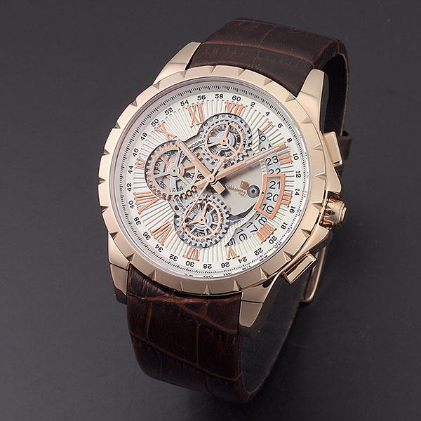 取寄品 正規品 Salvatore Marra 腕時計 サルバトーレマーラ SM13119S-PGWH トリックマスター 革ベルト 防水 メンズ腕時計 送料無料