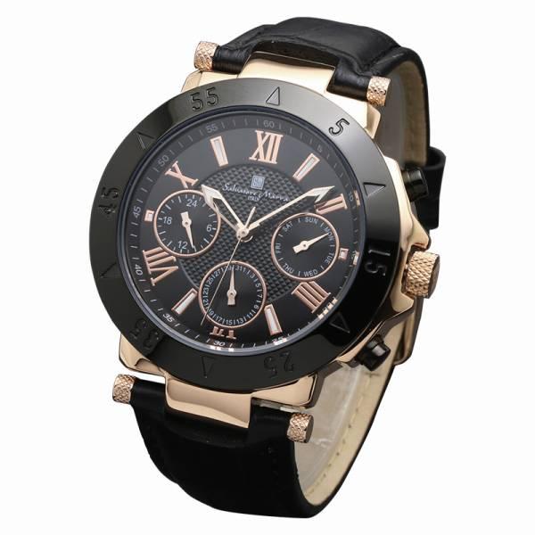取寄品 正規品 Salvatore Marra 腕時計 サルバトーレマーラ SM14118S-PGBK 10気圧多軸クォーツ 革ベルト 防水 メンズ腕時計 送料無料