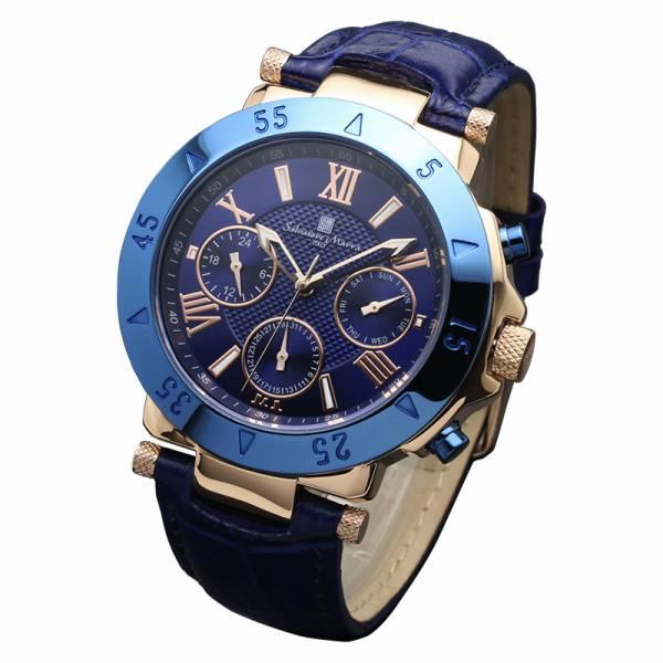 取寄品 正規品 Salvatore Marra 腕時計 サルバトーレマーラ SM14118S-PGBL 10気圧多軸クォーツ 革ベルト 防水 メンズ腕時計 送料無料