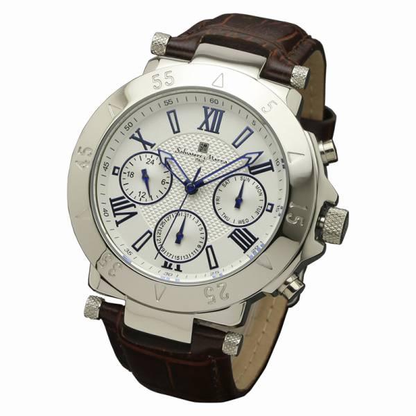 取寄品 正規品 Salvatore Marra 腕時計 サルバトーレマーラ SM14118S-SSWH 10気圧多軸クォーツ 革ベルト 防水 メンズ腕時計 送料無料