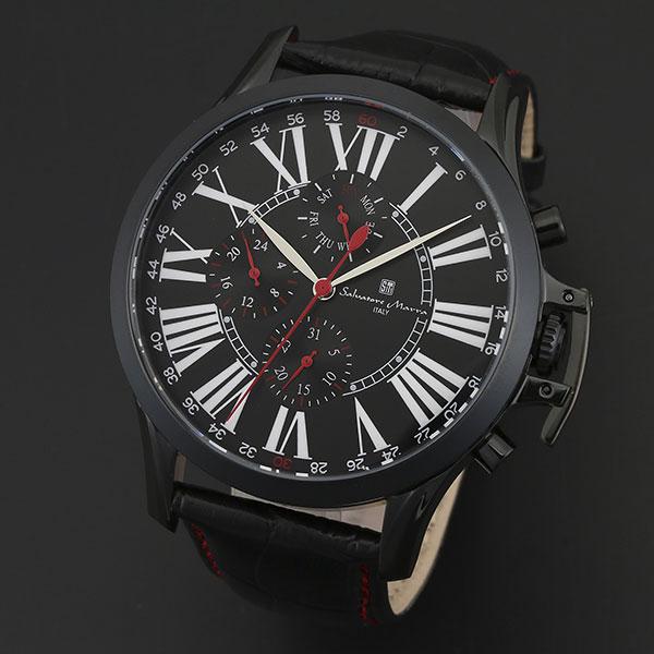 取寄品 正規品 Salvatore Marra 腕時計 サルバトーレマーラ SM14123-IPBK 多軸リューズカバー 革ベルト 防水 メンズ腕時計 送料無料