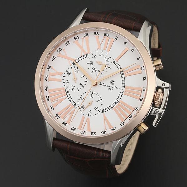 取寄品 正規品 Salvatore Marra 腕時計 サルバトーレマーラ SM14123-PGWH 多軸リューズカバー 革ベルト 防水 メンズ腕時計 送料無料