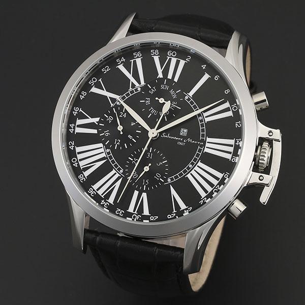 送料無料 取寄品 正規品 Salvatore 新作入荷 Marra 通常便なら送料無料 腕時計 サルバトーレマーラ SM14123-SSBK 多軸リューズカバー 革ベルト メンズ腕時計 防水
