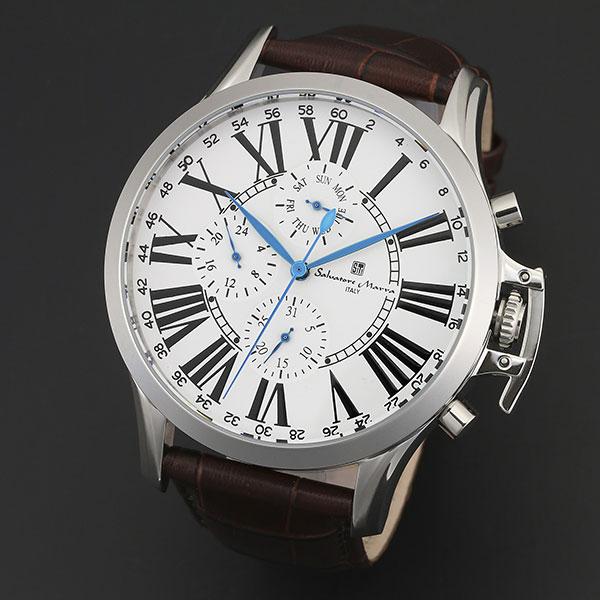 取寄品 正規品 Salvatore Marra 腕時計 サルバトーレマーラ SM14123-SSWH 多軸リューズカバー 革ベルト 防水 メンズ腕時計 送料無料