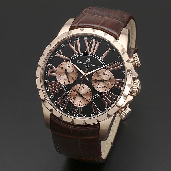 取寄品 正規品 Salvatore Marra 腕時計 サルバトーレマーラ SM15103-PGBK 多軸 丸型 革ベルト 防水 メンズ腕時計 送料無料