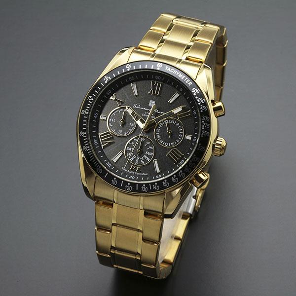 取寄品 正規品 Salvatore Marra 腕時計 サルバトーレマーラ SM15116-GDBKGD 電波ソーラー クロノグラフ 防水 メンズ腕時計 送料無料