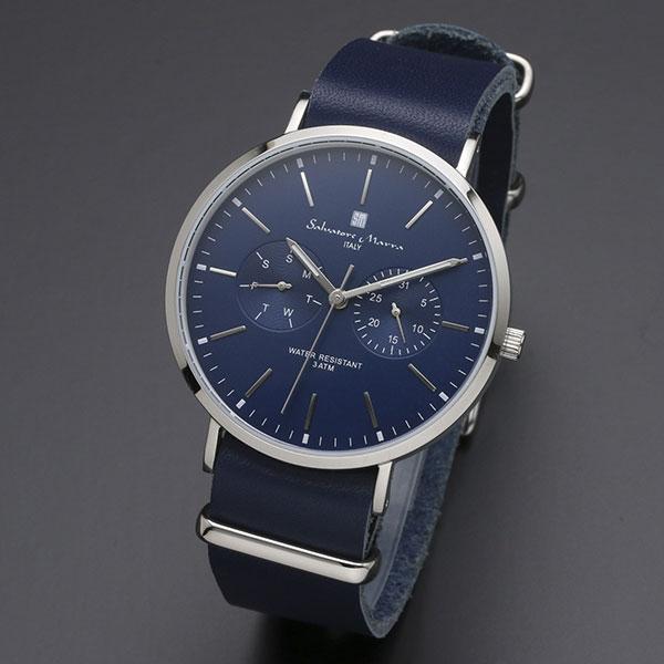 取寄品 正規品 Salvatore Marra 腕時計 サルバトーレマーラ SM15117-SSNVSV 多軸 薄型革ベルト 防水 メンズ腕時計 送料無料