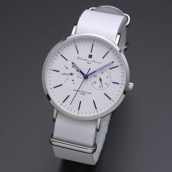取寄品 正規品 Salvatore Marra 腕時計 サルバトーレマーラ SM15117-SSWHBL 多軸 薄型革ベルト 防水 メンズ腕時計 送料無料